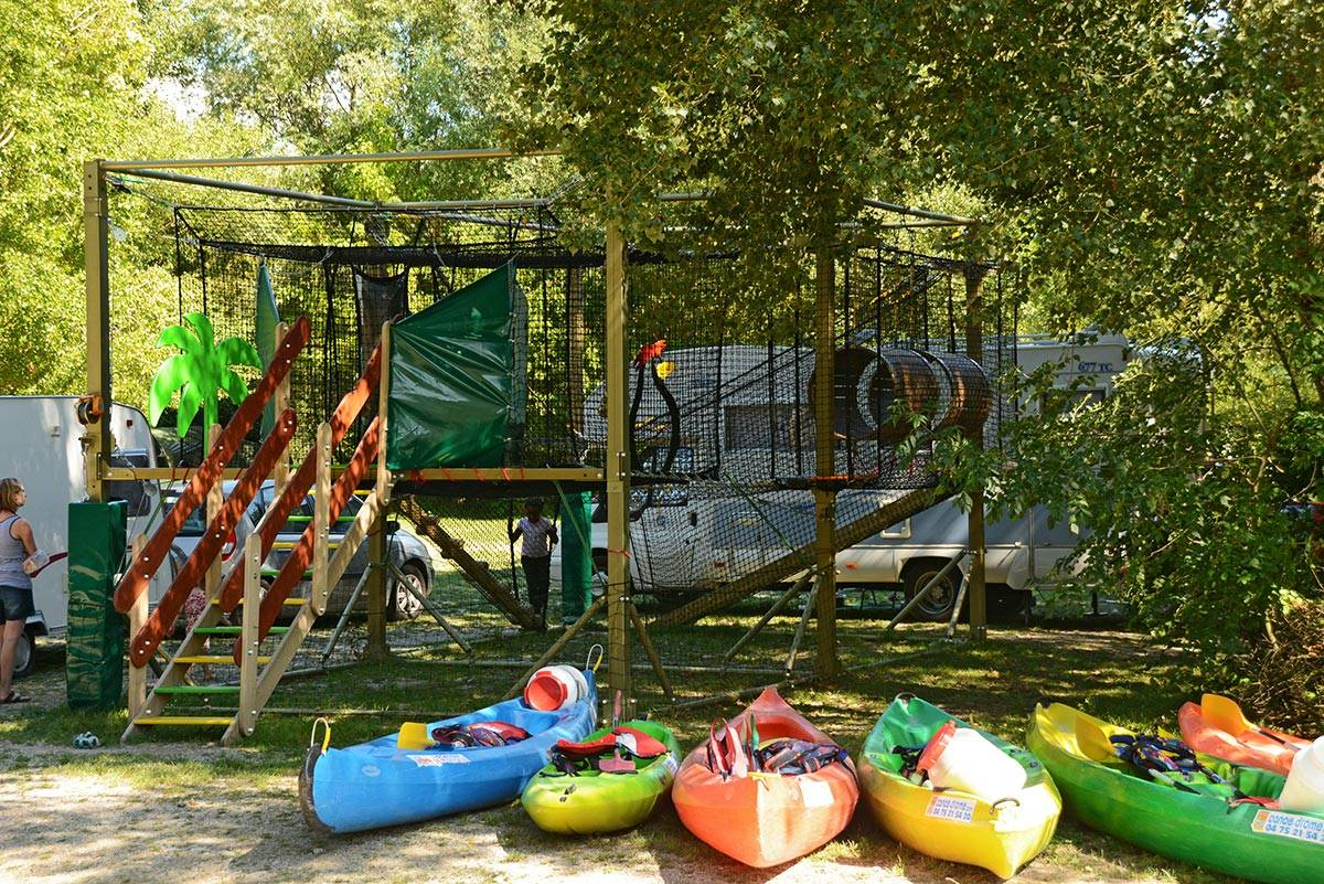 Playground for children and canoe ride